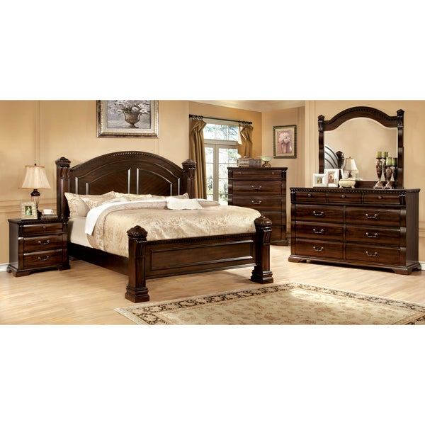 furniture of america tasine cherry 4 piece poster bedroom set