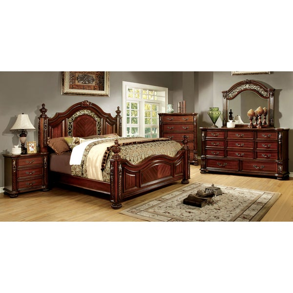 Furniture Of America Ellianne Traditional 4 Piece Brown Cherry Bedroom