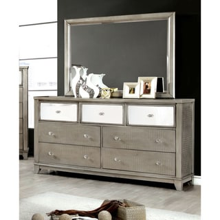 Furniture of America Divonne Modern Crocodile Silver 2-Piece Dresser and Mirror Set