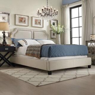 INSPIRE Q Harlow Arched Panel Nailhead Beige Linen Upholstered King-size Platform Bed