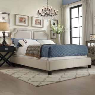 INSPIRE Q Harlow Arched Panel Nailhead Beige Linen Upholstered King-size Bed