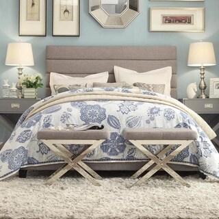 INSPIRE Q Corbett Horizontal Striped Gray Linen Upholstered Queen-size Bed