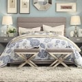 TRIBECCA HOME Corbett Horizontal Striped Gray Linen Upholstered Queen-size Bed