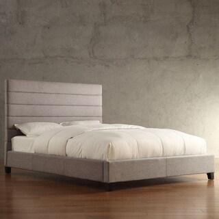 INSPIRE Q Corbett Horizontal Striped Gray Linen Upholstered King-size Bed