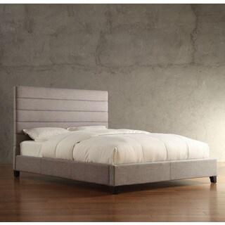 TRIBECCA HOME Corbett Horizontal Striped Gray Linen Upholstered King-size Platform Bed