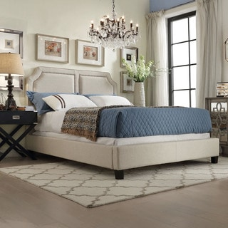 INSPIRE Q Harlow Arched Panel Nailhead Beige Linen Upholstered Queen-size Bed