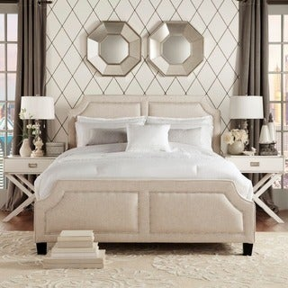 INSPIRE Q Harlow Arched Panel Nailhead Beige Linen Upholstered Queen-size Platform Bed with Footboard