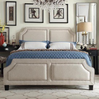 INSPIRE Q Harlow Arched Panel Nailhead Beige Linen Upholstered King-size Platform Bed with Footboard