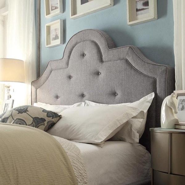 Inspire Q Harper Tufted High Arching Linen Upholstered