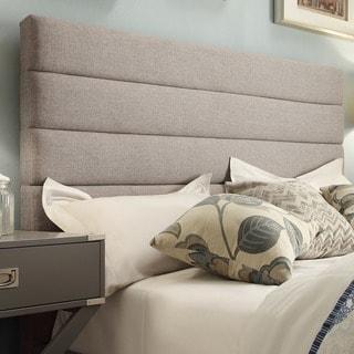 TRIBECCA HOME Corbett Horizontal Striped Gray Linen Upholstered Full-size Headboard