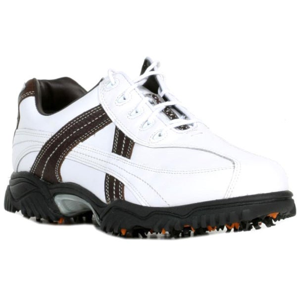 FootJoy Contour Series Mens Cleated White/Brown Tumbled Golf Shoes