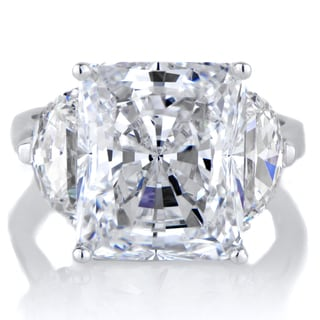 Sterling Silver Three Stone Cubic Zirconia Engagement Ring
