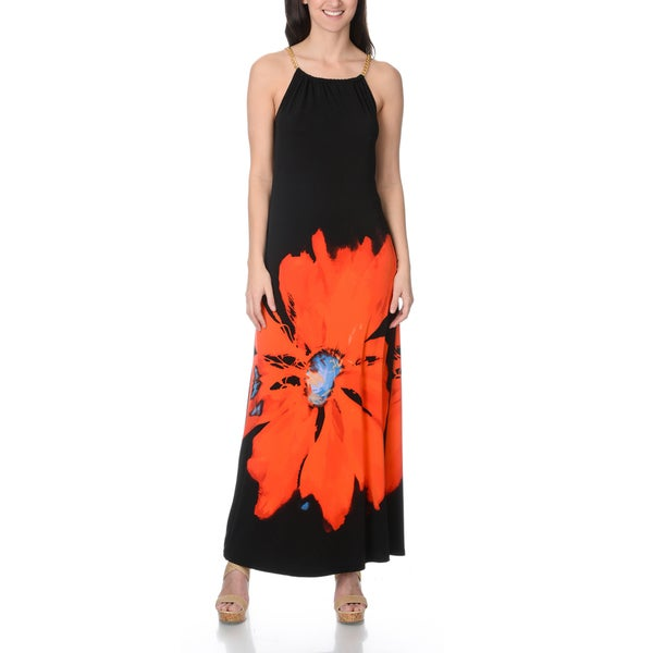 Lennie for Nina Leonard Women's black maxi dress with red flower graphic
