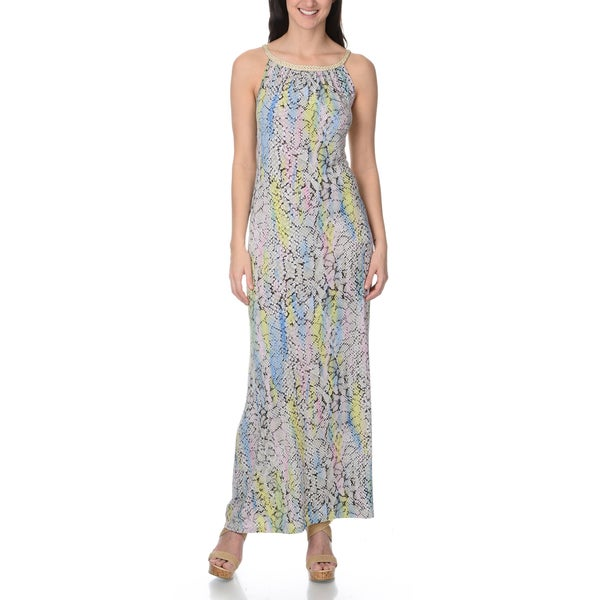 Lennie for Nina Leonard Women's pastel snake skin print maxi dress