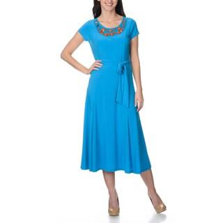 Lennie for Nina Leonard Women's Embellished Neckline Dress