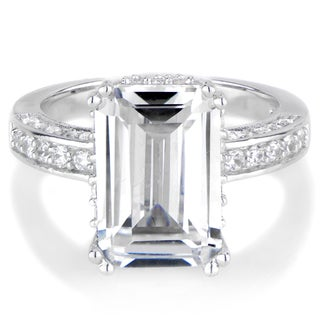 Sterling Silver Emerald Cut Cubic Zirconia Engagement Ring