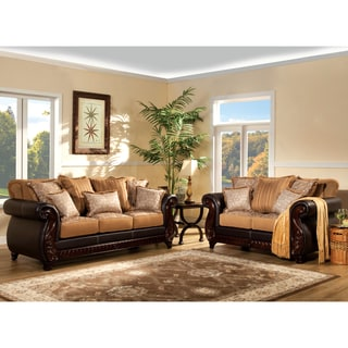 Furniture of America Traditional Floristen 2-Piece Fabric-Leatherette Sofa Set
