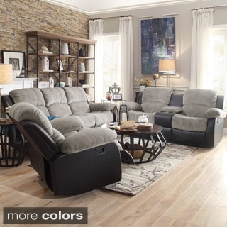 TRIBECCA HOME Coleford 3-piece Tufted Transitional Storage Console Reclining Living Room Set