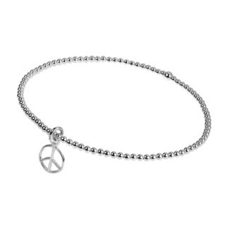 Elastic Bead Link Peace Sign Sterling Silver Bracelet (Thailand)