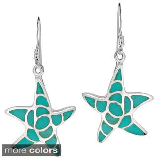Sea Farers Starfish Stone Sterling Silver Dangle Earrings (Thailand)
