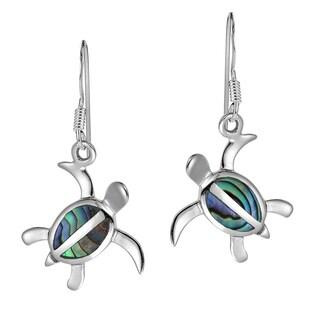 Serene Spirit Turtle Stone .925 Silver Dangle Earrings (Thailand)