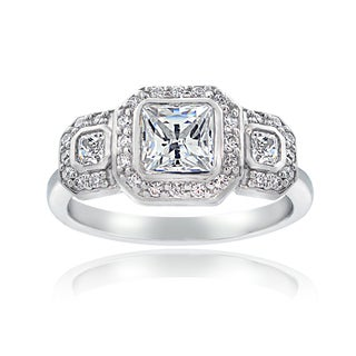 ICZ Stonez Sterling Silver Square Engagement Ring Made with Swarovski Zirconia