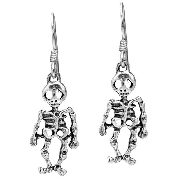 Halloween Skeleton .925 Silver Dangle Earrings (Thailand)