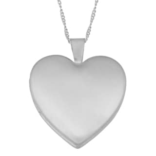 Fremada Brass Matte Finish Heart Locket on Sterling Silver Curb Chain Necklace (18 inch)