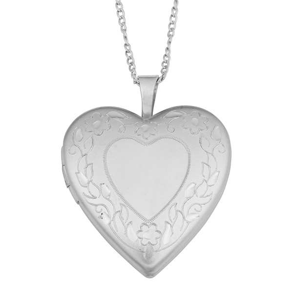 Fremada Brass Floral Border Heart Locket on Sterling Silver Curb Chain Necklace (18 inch)