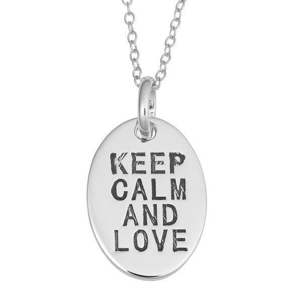 Fremada Rhodium Plated Sterling Silver Keep Calm And Love Oval Pendant On Cable Chain Necklace
