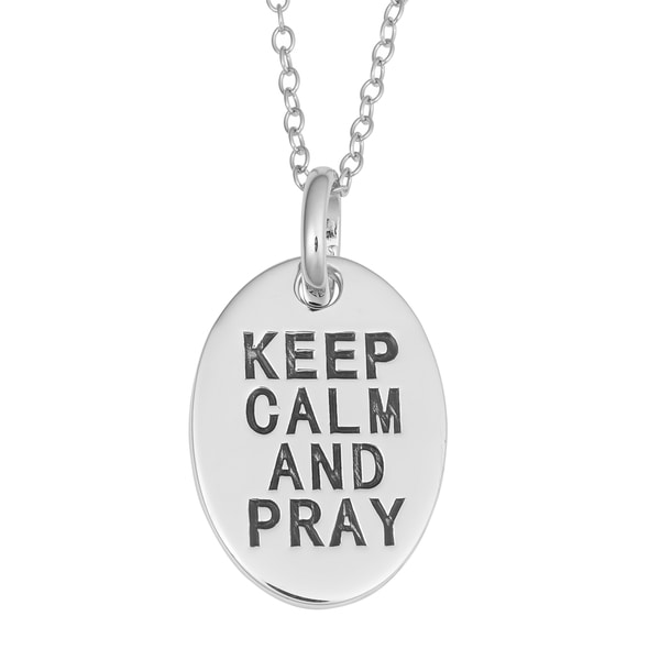 Fremada Rhodium Plated Sterling Silver Keep Calm And Pray Oval Pendant On Cable Chain Necklace