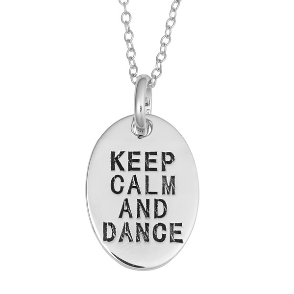 Fremada Rhodium Plated Sterling Silver Keep Calm And Dance Oval Pendant On Cable Chain Necklace