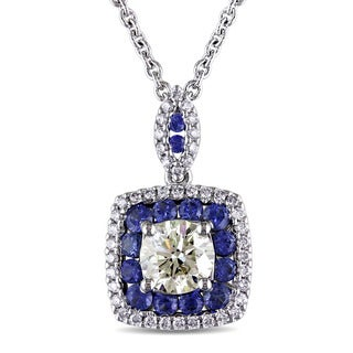 Miadora 18k White Gold Blue Sapphire and 1ct TDW Yellow and White Diamond Double Halo Necklace