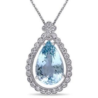 Miadora 14k White Gold Aquamarine and 3/5ct TDW Diamond Necklace (G-H, SI1-SI2)