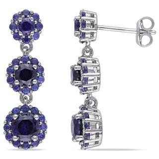 Miadora Sterling Silver Created Blue Sapphire Dangle Earrings