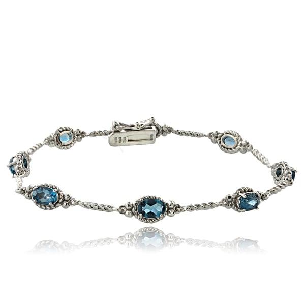 Glitzy Rocks Sterling Silver London Blue Topaz Braided Link Bracelet