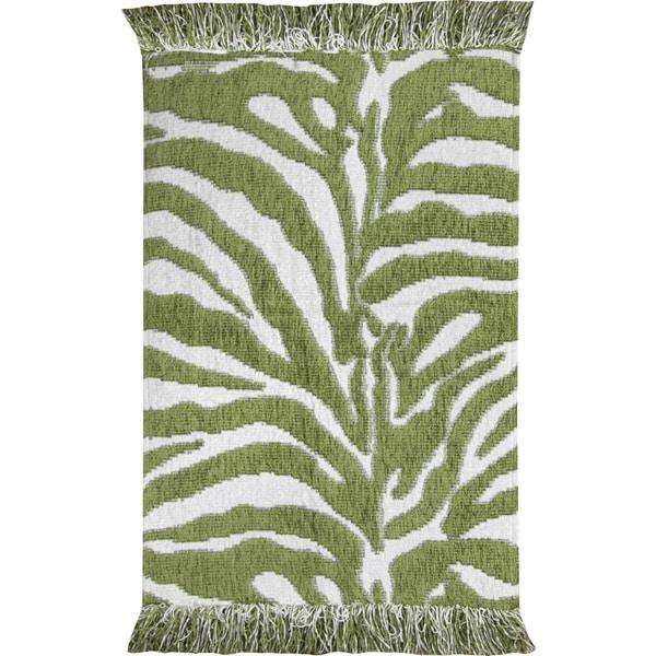 Animal Print Green White Zebra Rug 4 X 6