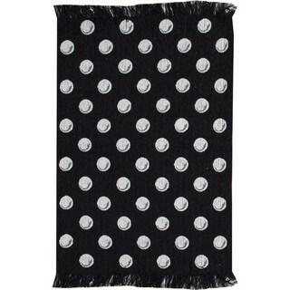Black / White Dots Rug (2' X 3')