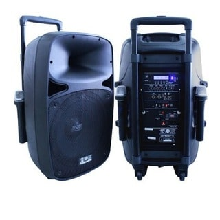 Absolute 2500-watt 15-inch Bluetooth Battery Powered Speaker with Two Wireless Microphones and Remote Control