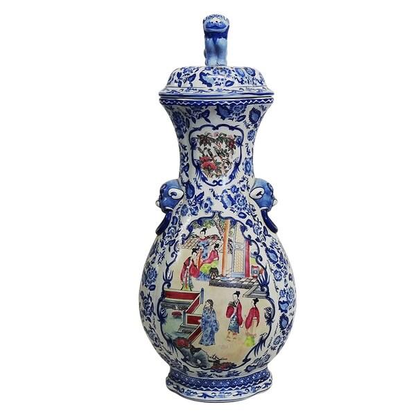 Blue and White Famille Porcelain Cover Vase