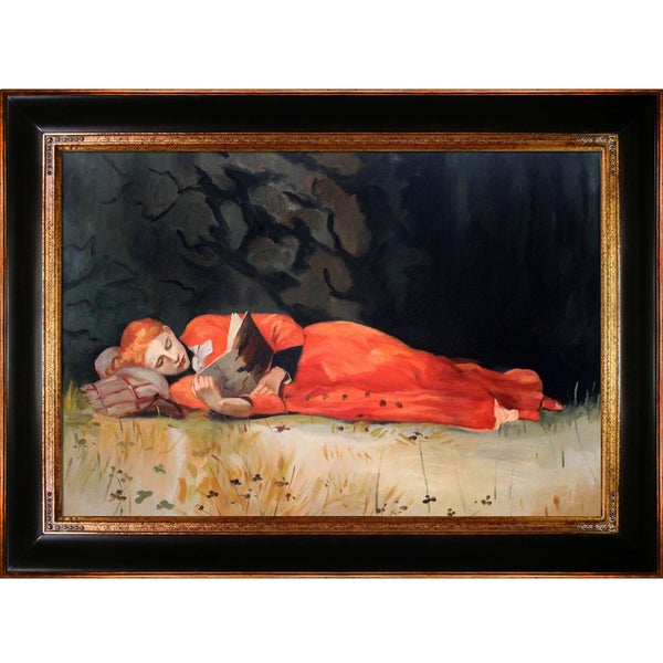 Winslow Homer The New Novel Hand Painted Framed Canvas Art