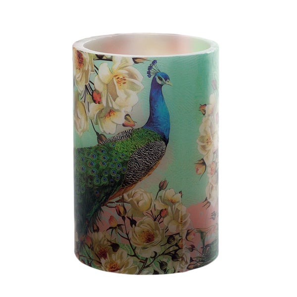 Floral Peacock Flameless LED Candle