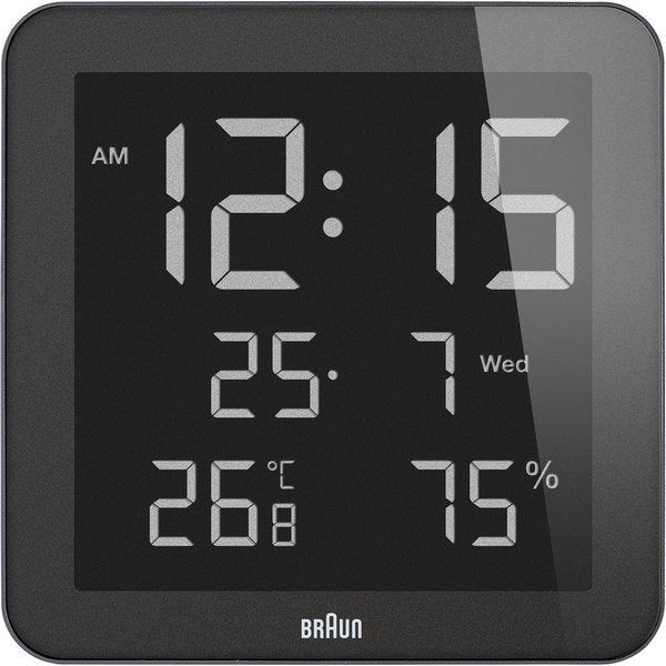 Braun Black Digital LCD Wall Clock