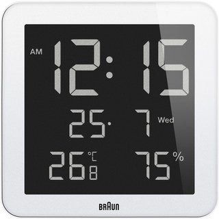 Braun White Digital LCD Wall Clock with Indoor Temperature and Humidity