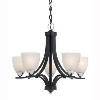 Lumenno Transitional 5-light Black Chandelier with Chrome Accents