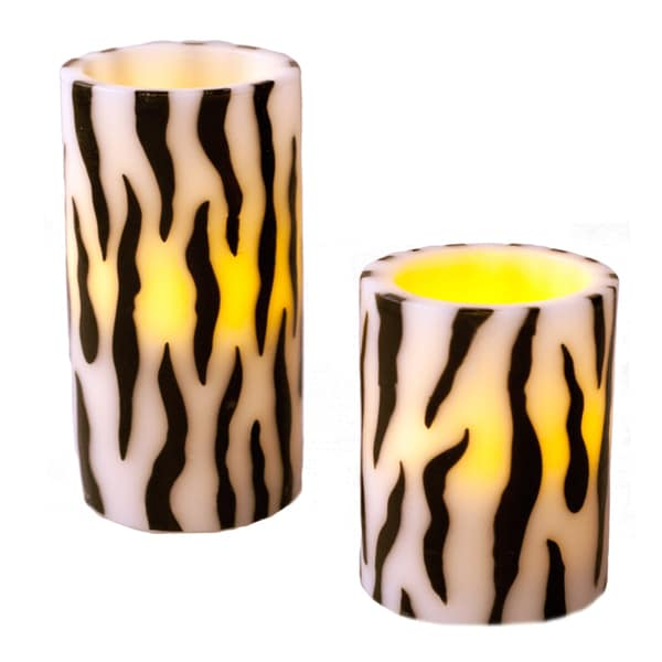 Zebra Striped Flameless LED Candles (Set of 2)