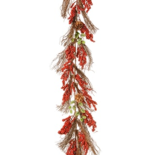 6-foot Vine Garland with Red Berries and Cones