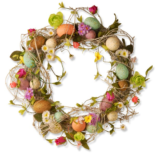 18-inch Easter Wreath with Eggs Flowers and Twigs