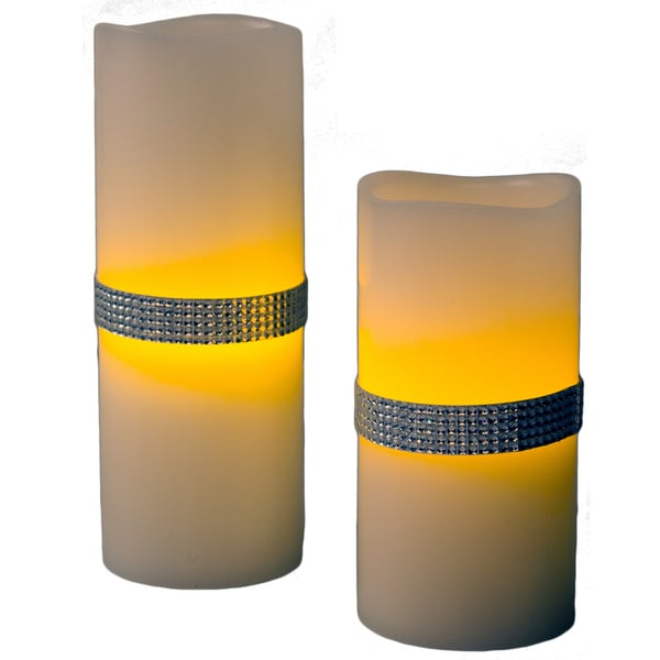 Silver Beaded Jewel Flameless LED Candles (Set of 2)