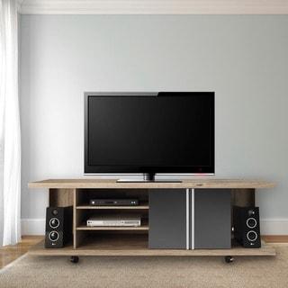 Manhattan Comfort 5- Shelf Carnegie TV Stand in Nature and Metallic Onyx